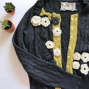 Anthropologie Field Flower Blossom House Cardigan